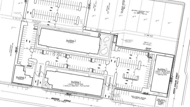 Proposed site plan for Midtown apartment complex.