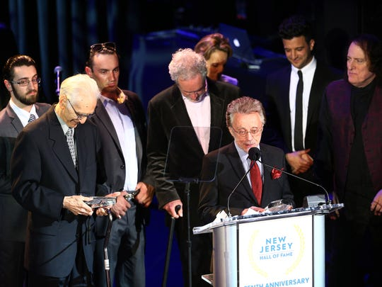 Frankie Valli speaks as the Four Seasons are inducted into the New Jersey Hall of Fame at the Paramount Theater in Asbury Park. May 6, 2018.