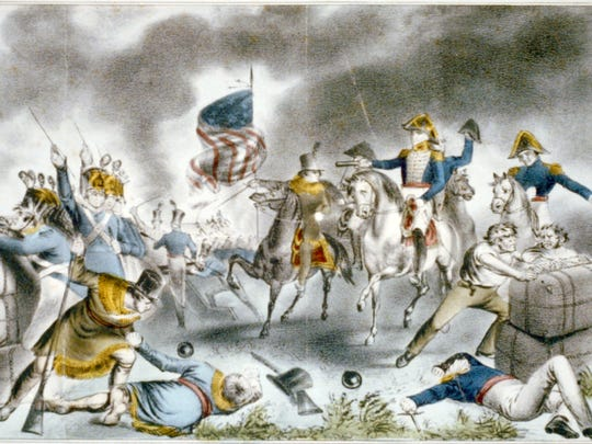 A Currier & Ives engraving depicts Andrew Jackson at the Battle of New Orleans, the last major battle of the War of 1812.