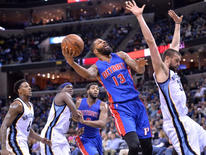 Detroit Pistons forward Marcus Morris (13) shoots against