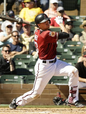Arizona Diamondbacks Nick Ahmed hits a 2-RBI double against San Diego Padres in the 2nd inning during spring training action on March 2, 2017 at Salt River Fields.