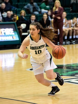 Binghamton University point guard Jasmine Sina averaged 14.8 points, 3.1 assists, 3.0 3-pointers and 1.3 steals per game as a freshman during the 2014-15 season and won America East Conference Rookie of the Year.