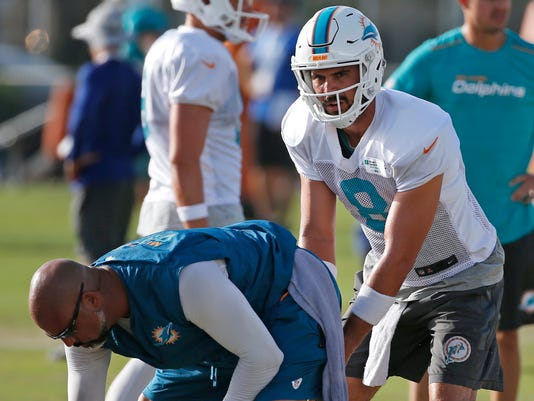 Miami Dolphins quarterback Matt Moore (8) takes a snap as he runs through drills during an NFL football training camp, Friday, Aug. 4, 2017, at the Dolphins training facility in Davie, Fla. (AP Photo/Wilfredo Lee)