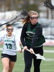 Kinnelon freshman Jillian Lockwood converts a penalty shot vs. Livingston during their girls lacrosse scrimmage. March 23, 2018. Livingston, NJ.