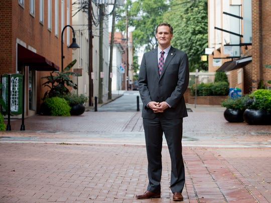 Charlottesville, Virginia, Mayor Michael Signer stands for a portrait on the Downtown Mall in Charlottesville on Aug 15, 2017.