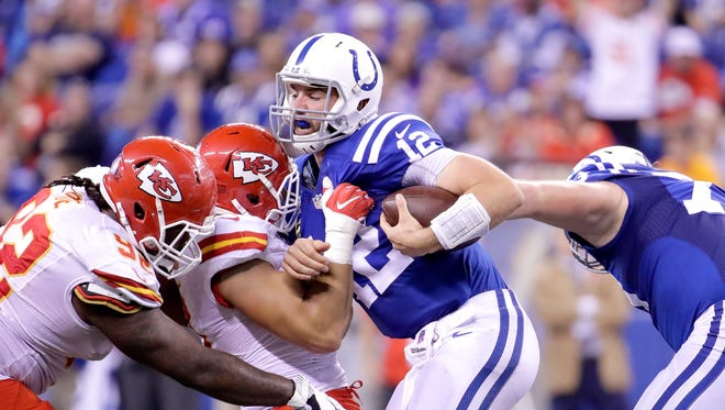Colts quarterback Andrew Luck is sacked by Frank Zombo (51) of the Kansas City Chiefs during a game on October 30, 2016 at Lucas Oil Stadium.
