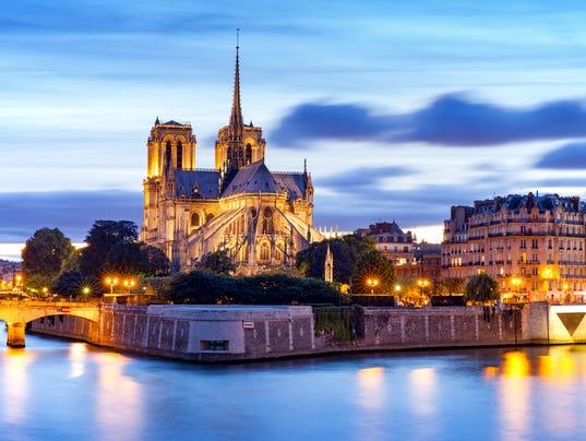 night view of Notre Dame de Paris Cathedral