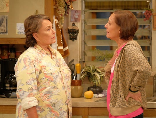 Roseanne Barr, left, and Laurie Metcalf