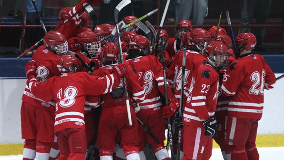 North Rockland celebrates after beating Suffern 3-2