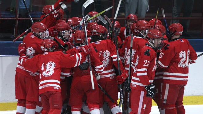North Rockland celebrates after beating Suffern 3-2 with a last minute goal at Sport-O-Rama Jan. 25, 2018.