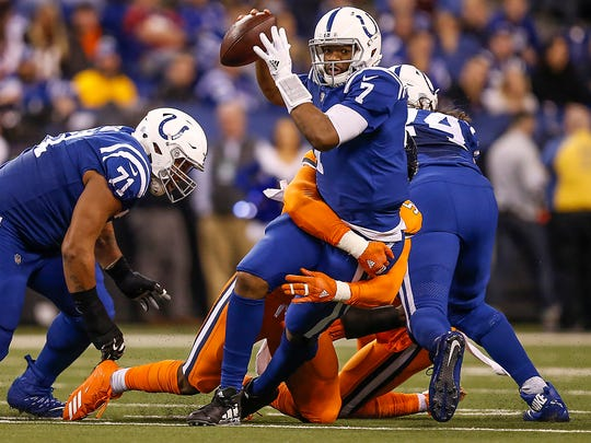 Denver Broncos outside linebacker Von Miller (58) sacks Indianapolis Colts quarterback Jacoby Brissett (7) in the third quarter at Lucas Oil Stadium in Indianapolis on Thursday, Dec. 14, 2017.