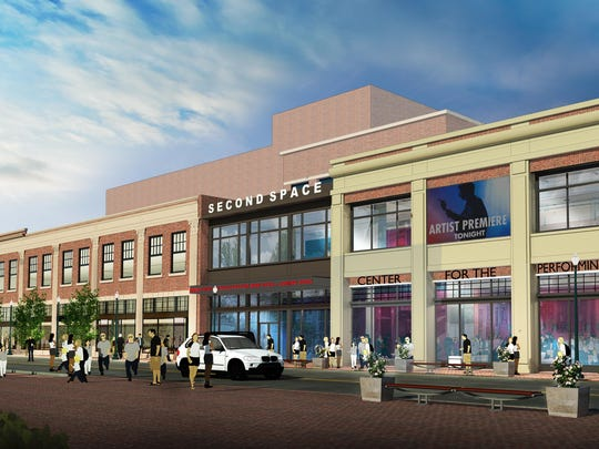 Concept art for the planned expansion to the Count Basie Theatre in Red Bank.