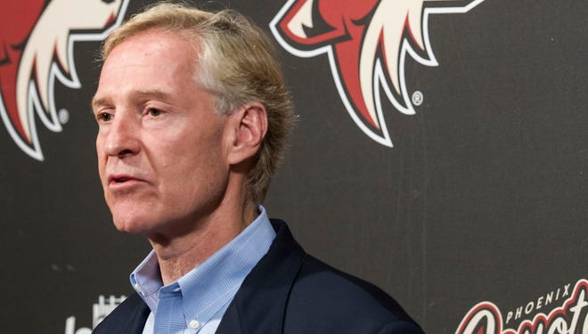 Phoenix Coyotes General Manager Don Maloney, talks to media after failing to make the 2014 NHL playoffs, on Monday, April 14, 2014.