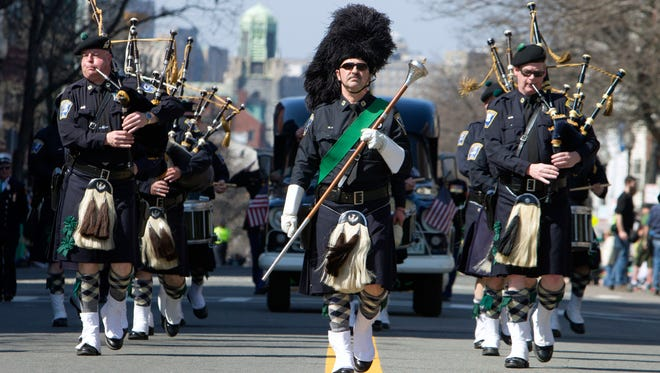 The Boston Police Gaelic Column marches in the annual St. Patrick's Day Parade in Boston, on March 18, 2012.