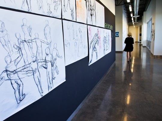 Art adorns some of the hallways at Rancho Salano Preparatory School in Scottsdale,  Thursday, April 24, 2014.