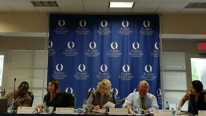 A Florida Gulf Coast University presidential search subcommittee met Tuesday to interview firms that could lead the school's search for a new president.