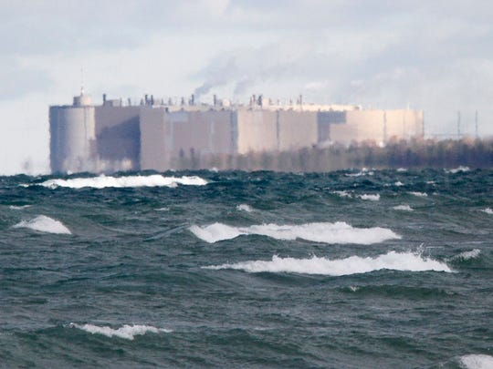 The Ontario Power Generation's  Bruce nuclear facility can be seen from a local beach off Lake Huron in Kincardine, Ontario.