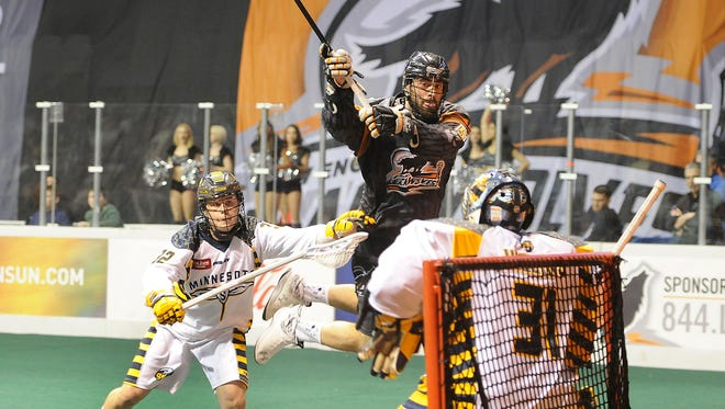 Penn Yan Academy graduate Mike Manley, shown here trying to score, has been a standout defenseman in outdoor and indoor pro lacrosse.