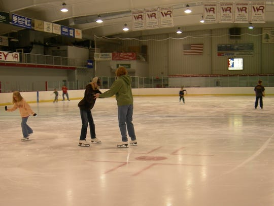 Ice skaters at the South Wood County Recreation Center