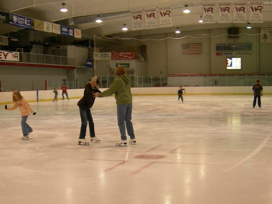 Ice skaters at the South Wood County Recreation Center in Wisconsin Rapids