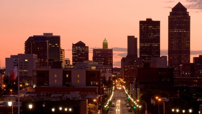 Downtown Des Moines at dusk.