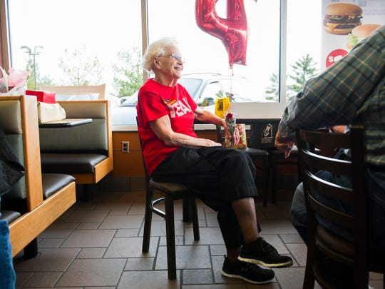 Loraine Maurer of Evansville, speaks with friends and customers during a party celebrating her 44 years of employment with McDonalds in Evansville, Thursday, March 23, 2017. Maurer, 94, wakes up at 3 a.m. on Friday and Saturday morning to work the breakfast shift and has no intentions of retiring.