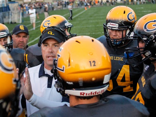 Grand Ledge Head Coach Matt Bird instructs his Comets