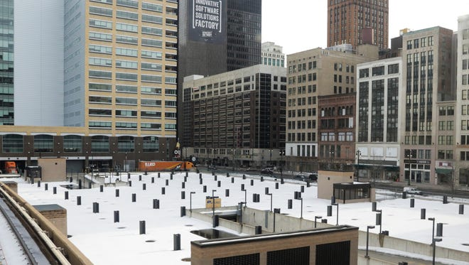 A view from the people mover of posts in the former Hudson's location in downtown Detroit on Wednesday March 4, 2015.