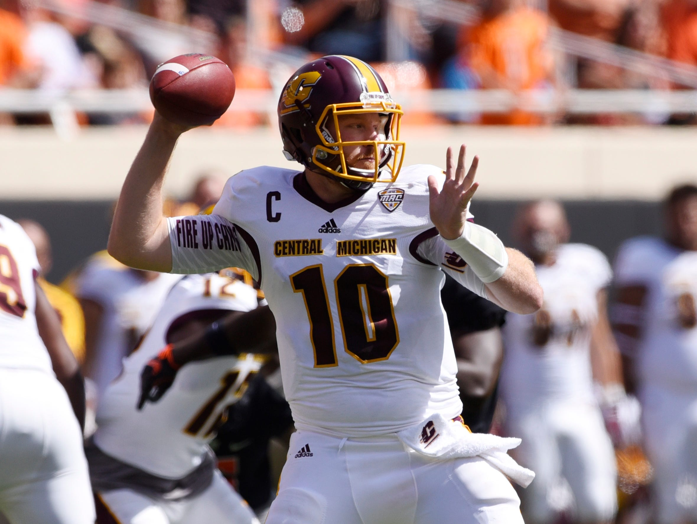 Central Michigan's Cooper Rush was named the MAC West offensive player of the week Monday after his contributions to the Chippewas' upset win over Oklahoma State.