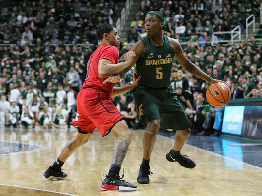 Cassius Winston leads the Big Ten in assists, at 6.9
