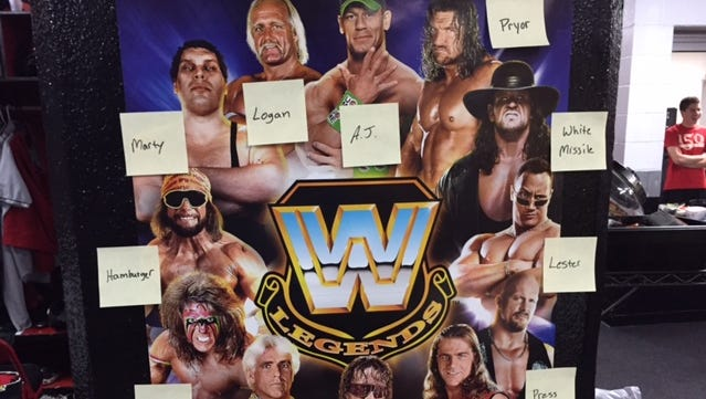 The WWE Legends poster that adorns the Red Wings clulbhouse, along with Post It notes to signify which reliever has adopted what personality.