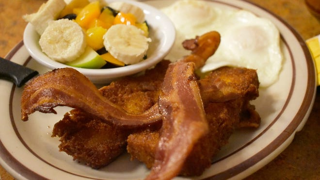 You can get scrapple at Country Kitchen in Redding.