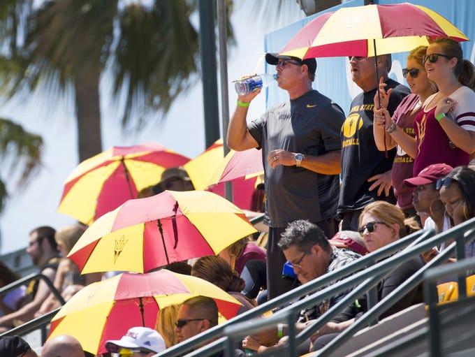 Arizona State University football fans watch the final
