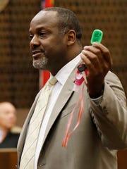 Defense attorney Alton Peterson challenges the prosecution's