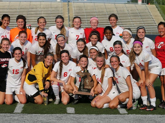 Another milestone, another celebratory team photo for the Canton Chiefs, after Friday's 1-0 win over Woodhaven in the regional final. Canton advances to the Division 1 semifinal round.