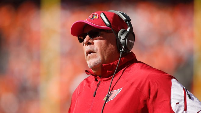 Cardinals head coach Bruce Arians during the first half against the  Denver Broncos  at Sports Authority Field at Mile High.