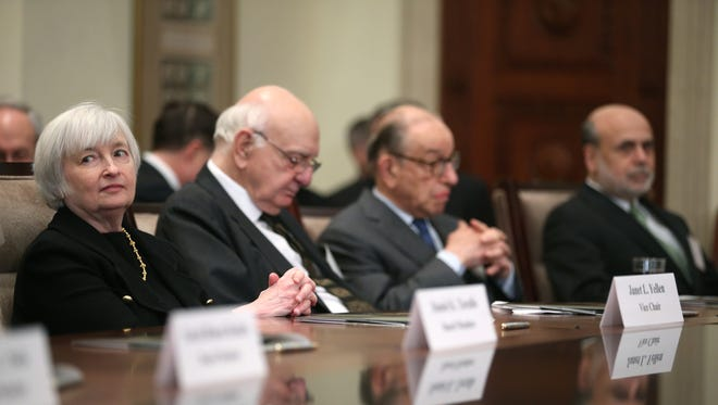 From left, Janet Yellen, Paul Volker, Alan Greenspan and Ben Bernanke at the centennial commemoration of the Federal Reserve on Monday.