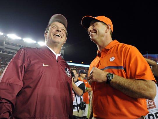 Florida State's Jimbo Fisher and Clemson's Dabo Swinney