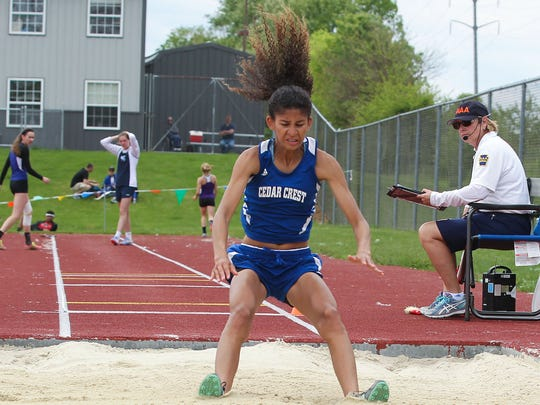 Ariel Jones, of Cedar Crest, won first place in the long jump during the Lancaster-Lebanon League Track & Field Championships held at Hempfield High School on Saturday. She's seeded fifth in the event at districts.