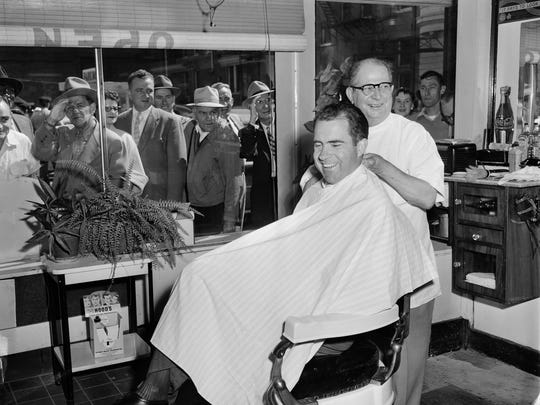 Vice President Richard Nixon got a haircut while in town to attend an event at the Kentucky Hotel. By George Bailey, The Courier-Journal. Sept. 27 1956   IDX