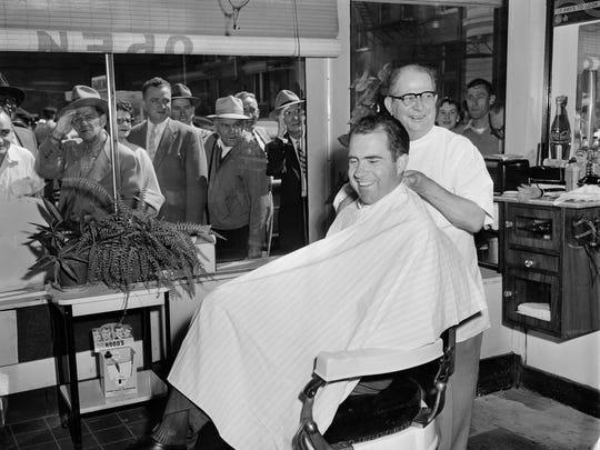 Vice President Richard Nixon got a haircut while in
