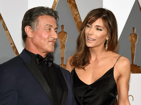 Actor Sylvester Stallone (L) and model Jennifer Flavin attend the 88th Annual Academy Awards at Hollywood & Highland Center on February 28, 2016 in Hollywood, California.