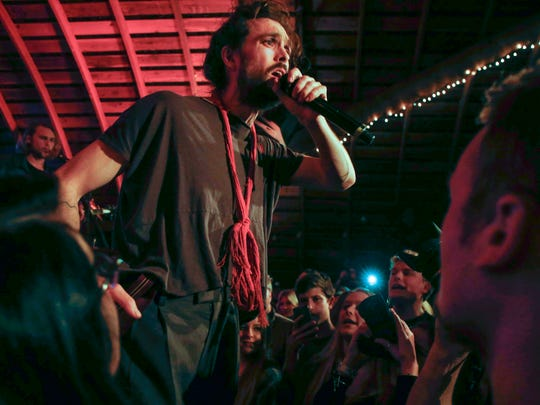 Alex Ebert, lead singer of Edward Sharpe and the Magnetic Zeros, performs at the Codfish Hollow Barnstormers session in rural Maquoketa on Tuesday, May 17, 2016.