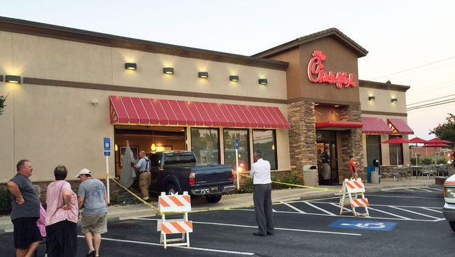 A trash crashed into an Anderson Chick-fil-A Tuesday night.