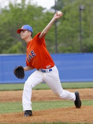 Edison reliever Xander Burch delivers a pitch Friday