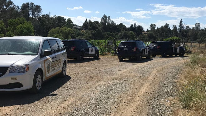 """Redding police investigate after a """"badly decomposed"""" body was found in Churn Creek west of Enterprise Park on Sunday."""