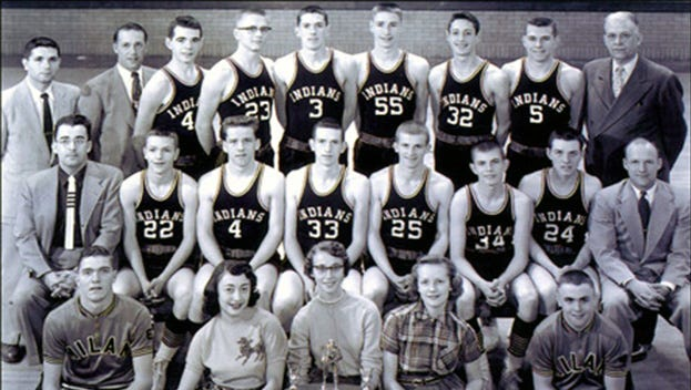 The 1954 Milan Indians basketball team.