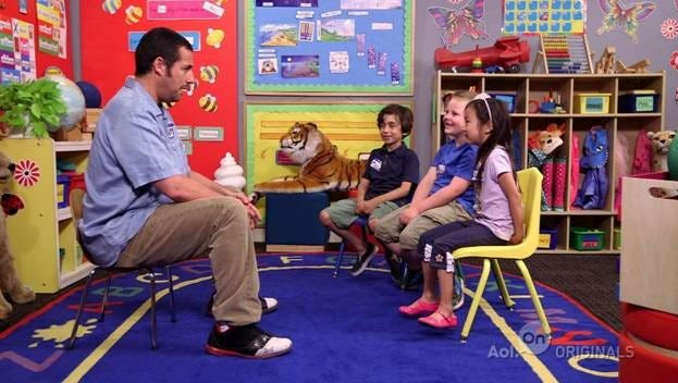 Adam Sandler tries to teach comedy to children in the AOL series 'Laugh Lessons.'