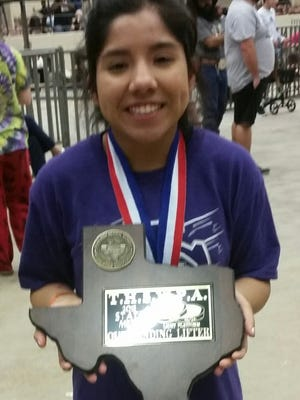 Irion County's Natali Dominguez won her third straight state title in powerlifting Saturday, March 16, 2019, in Waco.