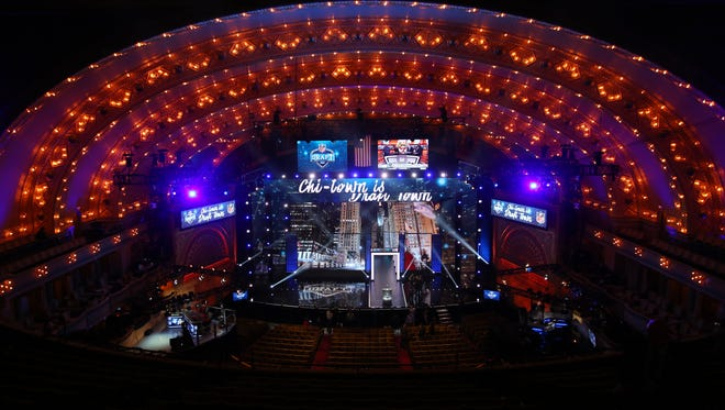 A general view of the stage and podium before the 2016 NFL Draft at the Auditorium Theatre. Mandatory Credit: Jerry Lai-USA TODAY Sports